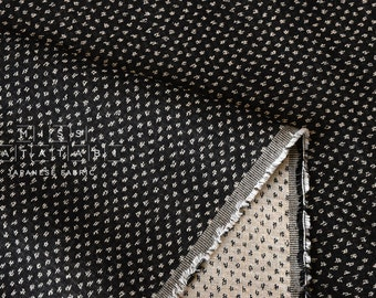 Japanese Fabric - yarn dyed woven dots jacquard  - black, latte - 50cm