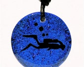Scuba Diving Diver necklace Dichroic Glass Pendant Blue color with leather cord made by ZulaSurfing