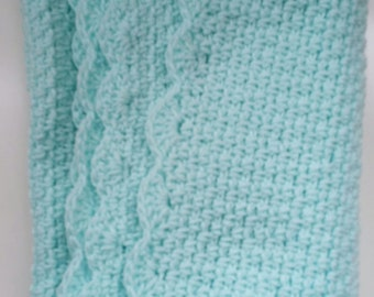 Soft Aqua Baby Blanket Afghan with Scalloped Edge