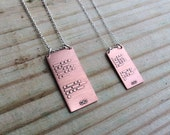 CUSTOM personalized Morse code necklace in copper and sterling silver | custom gift for him or her | Graduation