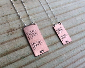 CUSTOM personalized Morse code necklace in copper and sterling silver | custom gift for him or her | Mother's Day | Graduation