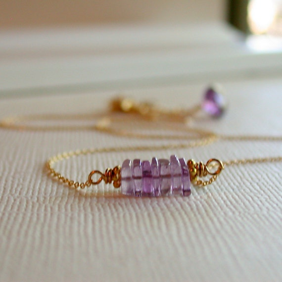 50 Percent Off! Sale. Amethyst Bits Necklace. Dainty Amethyst Necklace. Birthstone Necklace. February Birthstone Necklace