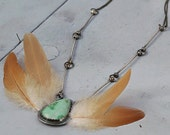 Lakeswimming, Variscite Pendant, Pressed Feather, Sterling Silver