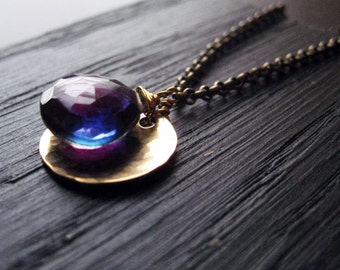 Blue Quartz and Brass Charm Necklace