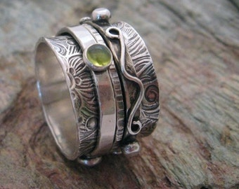 MADE TO ORDER - Sterling Silver Spinner Ring with Gem Stones. Twiddle Stoned