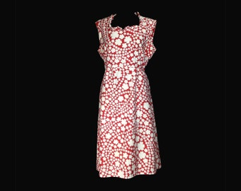 Vintage Dress, 1960's, Sleeveless, Red Print, Summer, Neck Ruffle, Knee Length, Fitted Waist, Medium