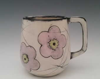Large Ceramic Mug Cherry Blossom Pattern Pottery Cup