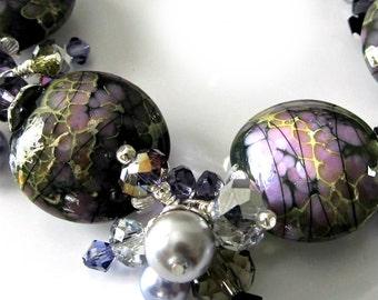 Lampwork Bracelet, Lavender, Silver, Tanzanite Purple, Crystal Clusters,  Pearls, Beaded Jewelry, Beaded Bracelet, OOAK