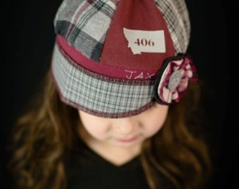 Jax Hat Child size - burgundy and grey hat - mixed fabrics hat - upcycled hat - recycled - Montana hat- chemo hat - little girl hat - fleece