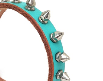 Rustic Aqua Blue Leather Dog Collar with Small Silver Spikes, Size XS to fit a 7-10in Neck, Eco-Friendly Leather, OOAK