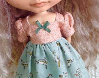 Dress for Blythe - Peach Floral and Basic Grey Birds