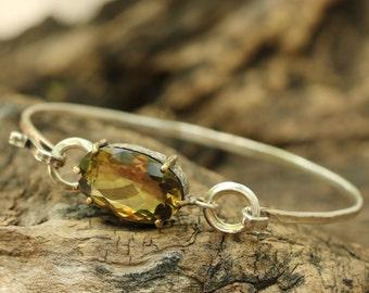 Faceted lemon quartz silver bangle bracelet