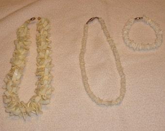 Set of Puka shell necklaces with bracelet