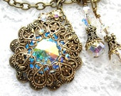Victorian Style Crystal Aurora Borealis Necklace Bridal Necklace Antiqued Brass Filigree Necklace