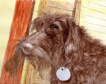 Chocolate Labradoodle giclee reproduction