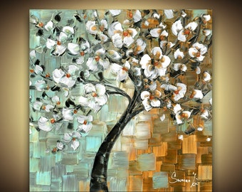 Canvas PRINT White Cherry Blossom Tree Home Decor Modern Square Wall Art by Susanna