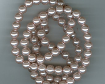 10mm Blush Light Pink Glass Pearl Round Beads