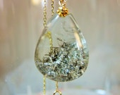 SALE 20% CODE:SALE2016 Natural Silver Recticular Rutilated Quartz Silver Rutile  Pear Drop Pendant.and 14K/22K Solid Yellow Gold Necklace