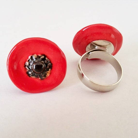 Jewelry - Jewellery - Fashion Jewelry - Ceramic Jewelry - Ring - Poppy - Adjustable Poppy Ring - Red Poppy Ring - Pottery Jewelry Ring