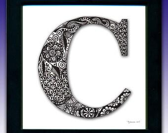Framed 'C' Monogram Print