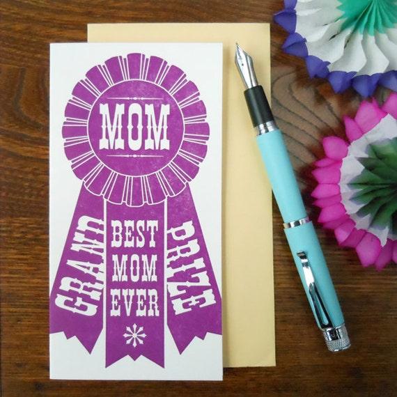 letterpress grand prize mom ribbon card county fair award winning best mom ever