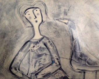 Blue wash woman and bird