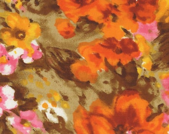 Vintage Orange and Yellow 70's Floral Fabric