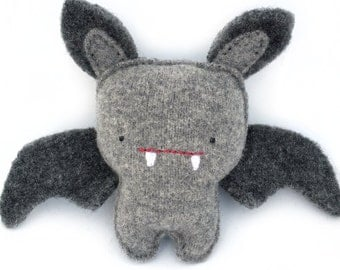 Dark Grey Bat - Recycled Wool Sweater Plush Toy