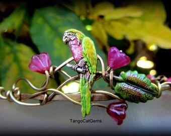 Parrot Bracelet  Pink Chalcedony Pink flowers gold filigree vines