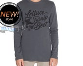 SALE lettuce turnip the beet ® - cotton long sleeve shirt - dark grey - unisex youth sizes