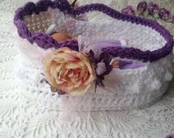 Crochet Moses Basket 8 - 12 inch doll - Embellishment Tutorial - Downton Abbey Moses Inspired Basket