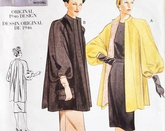 Vogue Vintage Model Sewing Pattern 2338 Misses Swing Coat 1946 Design Uncut
