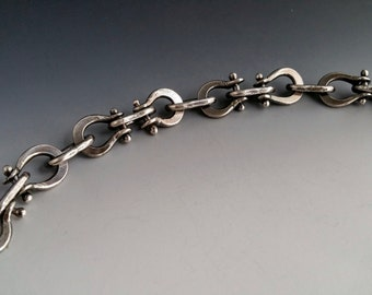 Antiqued Fine Silver Biker Chain Bracelet