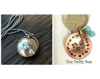 Mama Bird Stamped Locket Necklace, mixed metals
