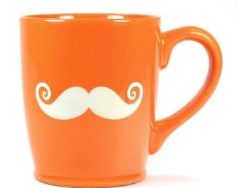 SALE - Left-Handed Mustache Mug - Orange lefty cup