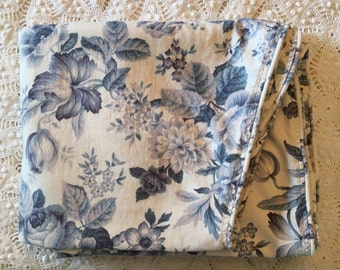 Beautiful Vintage Blue Roses Bed Coverlet - Custom Made - Decor Weight Scalloped Sides - Full or Queen -Cotton