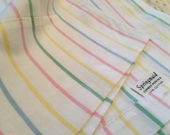 Rare Springmaid Combed Percale Full Flat Sheet - Pastel Stripes - NOS - Unused All Cotton Linens - Springmaid Sheets