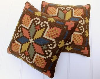 Flemish Handwork Pillows, Pair - Vintage Kilim Pillows - Brown Wool - Multi - Blue Gold - Rug Pillows