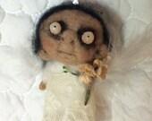 Sweet Angel needle  felted ooak  Christmas ornament art doll