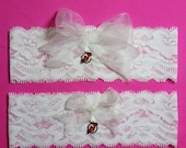 SALE 10% OFF White Lace Handmade Wedding Garter Set with New Jersey Devils charm NJ