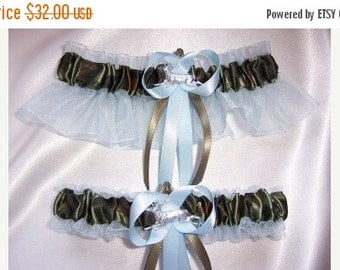 SALE 10% OFF LIGHT Blue and Camouflage Wedding Garter Set