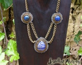 Lapis Lazuli and Sodalite on Brass Chain Beaded Necklace