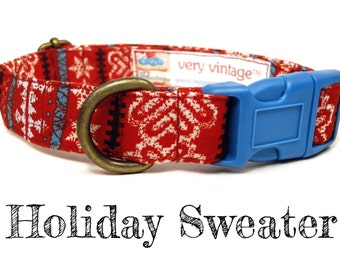 """Red Brown White Nordic Swiss Sweater Heart Snowflake Winter Dog Collar - Organic Cotton - Antique Brass Hardware - """"Holiday Sweater"""""""