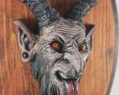 Mounted Krampus Demon Head Resin