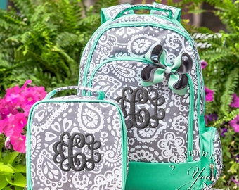 Personalized Parker Paisley Backpack Set of 3 - Monogrammed Backpack, Lunchbox and Hairbow, Girls back to school name bookbags