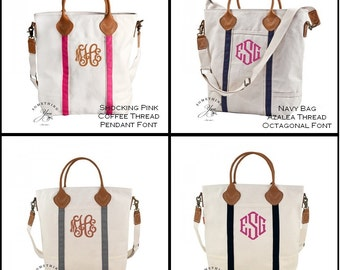 Monogrammed LEATHER and Natural Canvas Tote Bag - 6 COLORS - Personalized Travel Totes, Monogrammed Bridesamaids Handbags, Teacher Work Tote