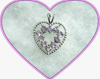 3mm Purple Amethyst Gemstones in 925 Sterling Silver Open Heart Pendant Necklace February Birthstone