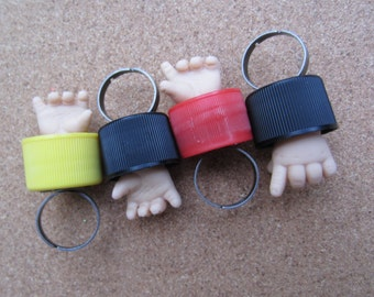 Black right -Baby Fight Club  - upcycled doll hand bottle cap ring