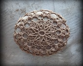 Crochet Lace Stone, Mocha Brown Thread, Table Decoration, Home Decor, Nature, Handmade, Unique, Monicaj