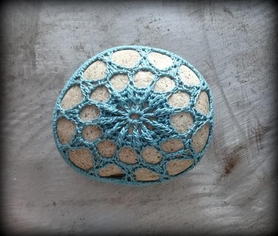 Crochet Lace Stone, Home Decor, Nature, Original, Handmade, Collectible, Art Object, Small, Medium Blue, Monicaj